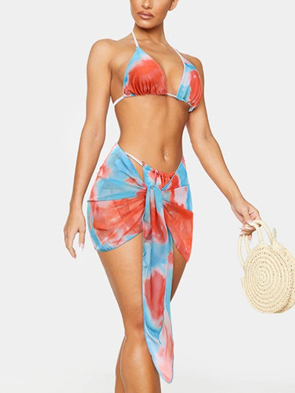 Fainted Halter Three-piece Swimsuit - Orange XL