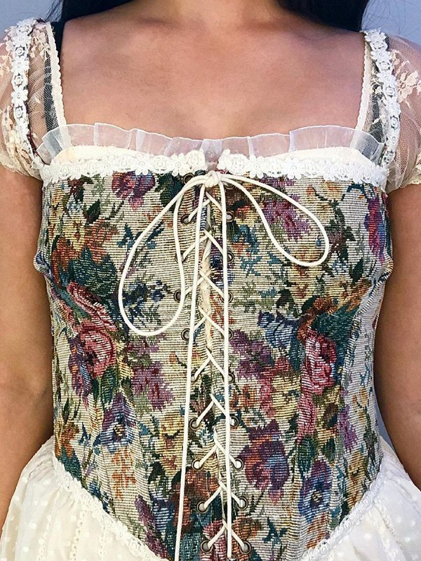 Lace-Up Floral Corset Top - Brown L