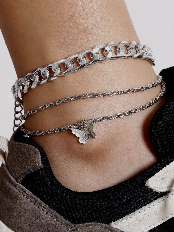 3Pcs Butterfly Chain Anklet - Silver ONE SIZE