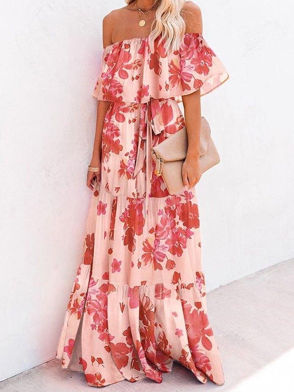 Off Shoulder Floral Print Maxi Dress - Floral Print L