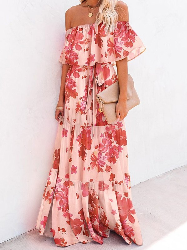 Off Shoulder Floral Print Maxi Dress - Floral Print XL