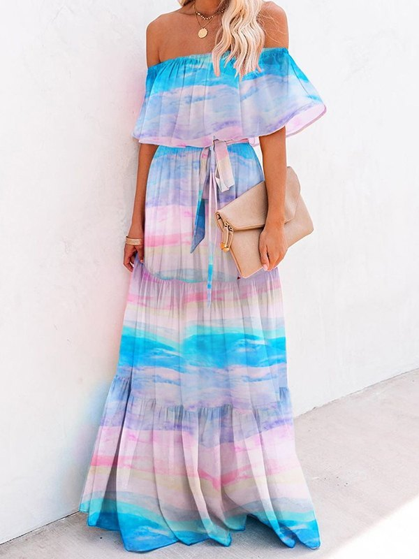 Off Shoulder Floral Print Maxi Dress - As The Picture L