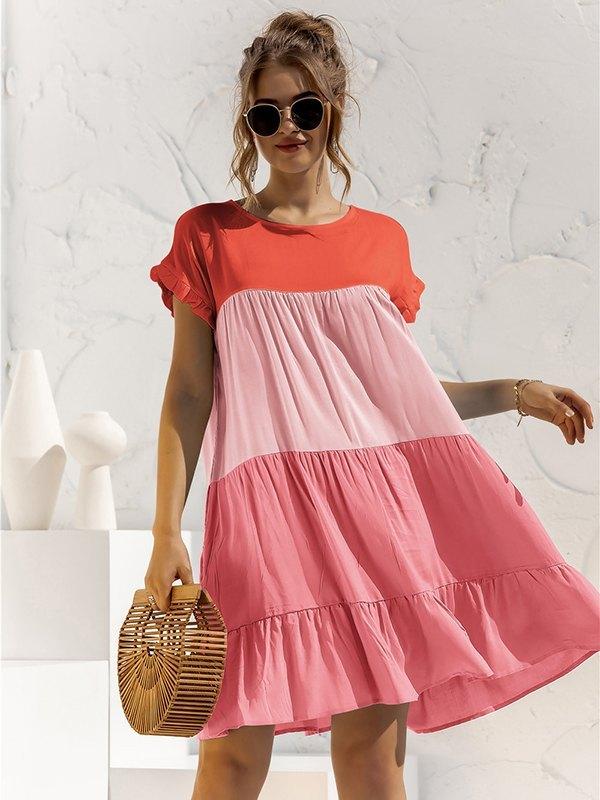 Colorblock Frill Trim Babydoll Dress - Pink L