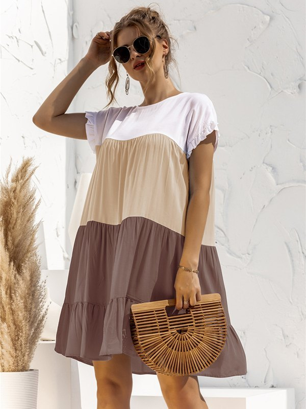 Colorblock Frill Trim Babydoll Dress - Khaki XL