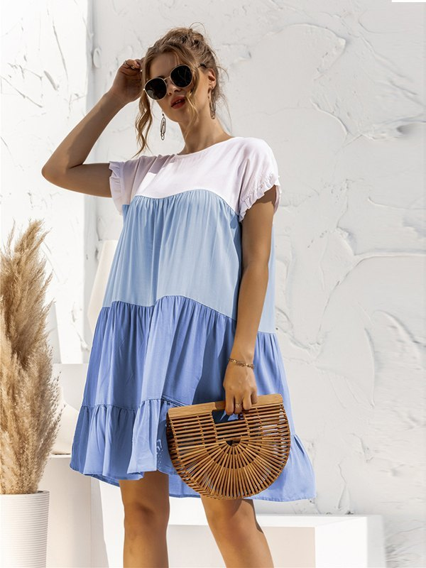 Colorblock Frill Trim Babydoll Dress - Blue S