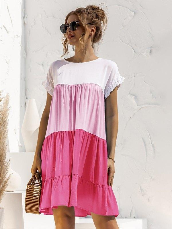 Colorblock Frill Trim Babydoll Dress - Beetroot Purple L