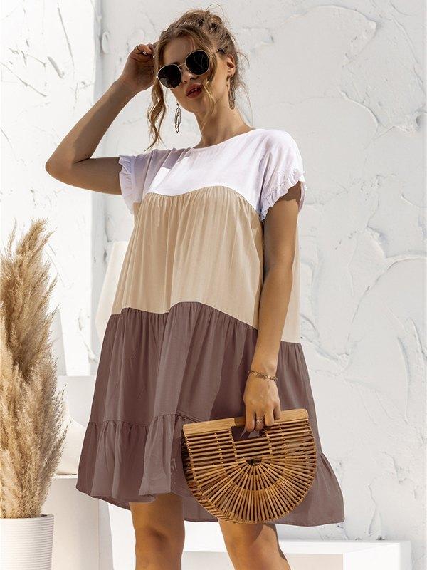 Colorblock Frill Trim Babydoll Dress - Khaki 2XL