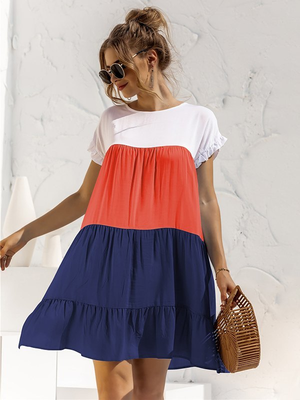Colorblock Frill Trim Babydoll Dress - Navy Blue S