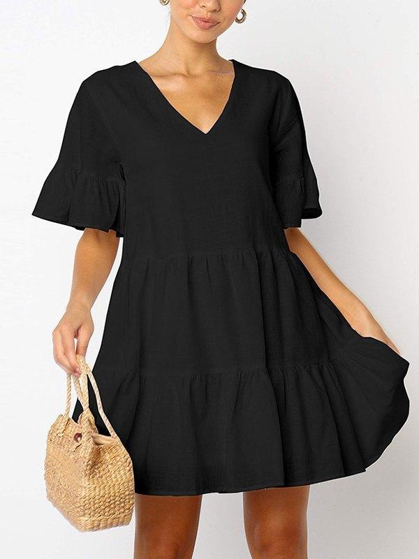 Solid Ruffle Babydoll Mini Dress - Black M