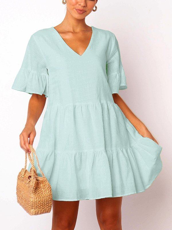 Solid Ruffle Babydoll Mini Dress - Aqua XS