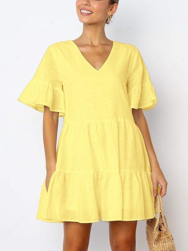 Solid Ruffle Babydoll Mini Dress - Yellow M