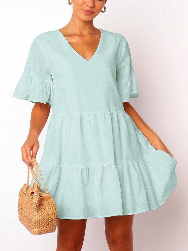 Solid Ruffle Babydoll Mini Dress - Aqua L