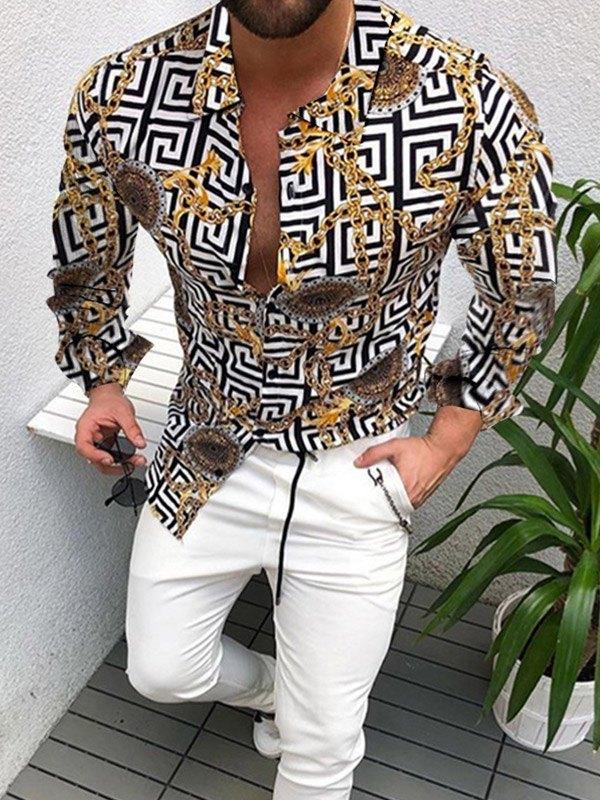 Men's Monogram Chain Print Shirt - multicolorple Colors 3XL
