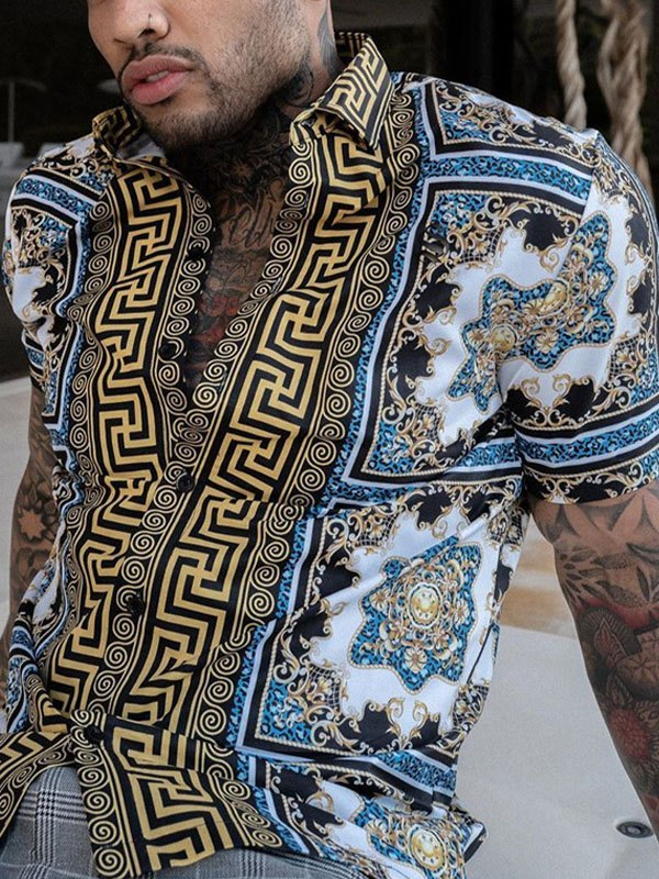 Men's Baroque Mixed Print Shirt - multicolorple Colors M