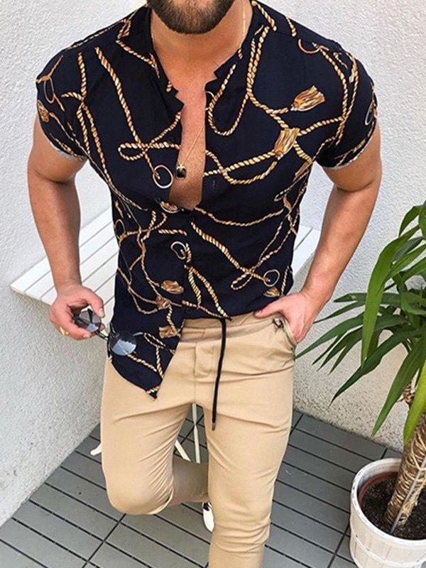 Chemise à manches courtes à imprimé chaîne pour hommes - Noir L
