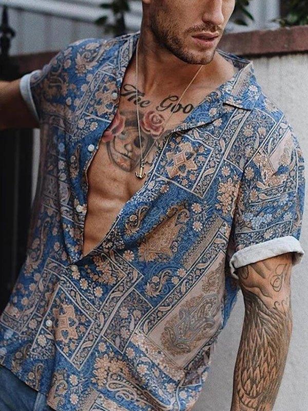 Chemise Hawaï à imprimé cachemire pour homme - Bleu L