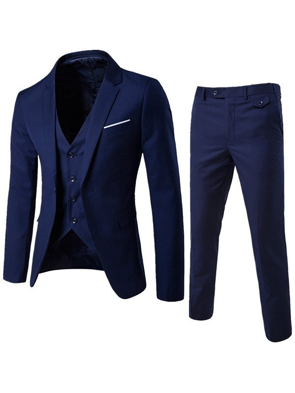 Men's Basic Three Piece Suit Set - Navy Blue S