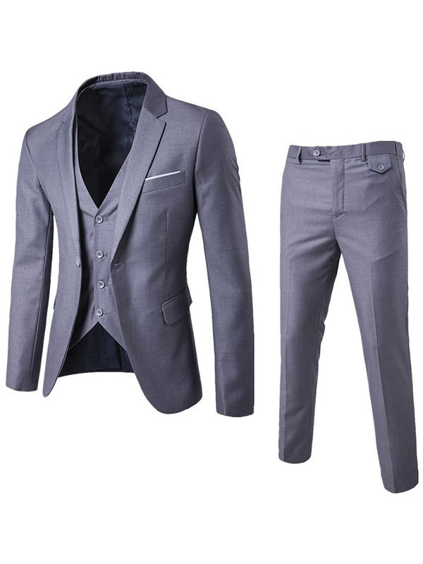 Men's Basic Three Piece Suit Set - Gray 4XL
