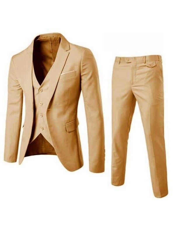 Men's Basic Three Piece Suit Set - Yellow 2XL