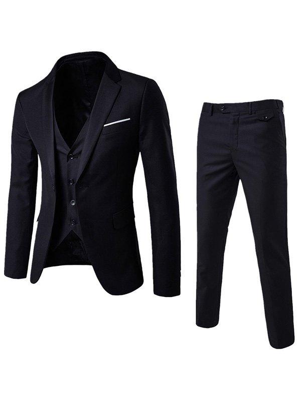 Men's Basic Three Piece Suit Set - Black 5XL