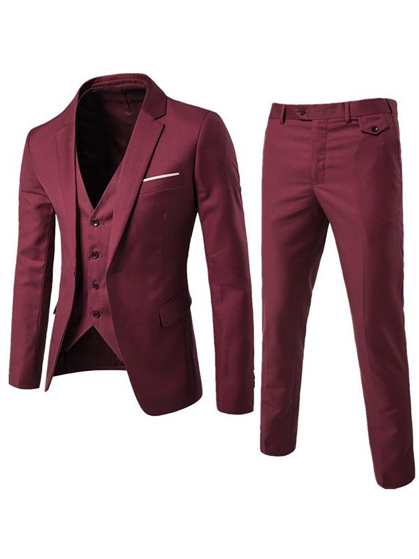 Men's Basic Three Piece Suit Set - Burgundy 2XL