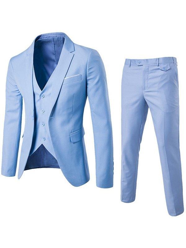 Men's Basic Three Piece Suit Set - Blue 4XL