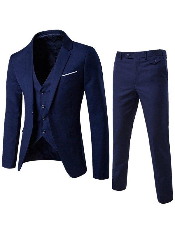 Men's Basic Three Piece Suit Set - Navy Blue 4XL