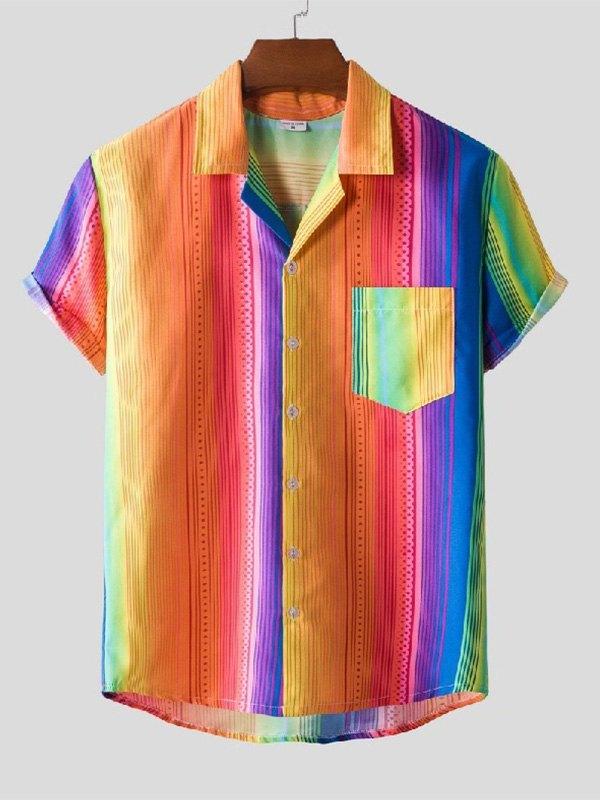 Men's Rainbow Striped Hawaii Shirt - multicolorple Colors L
