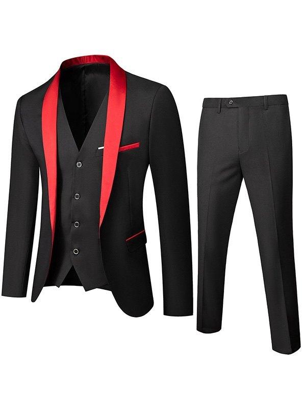 Men's Shawl Collar Wedding Suit Set -