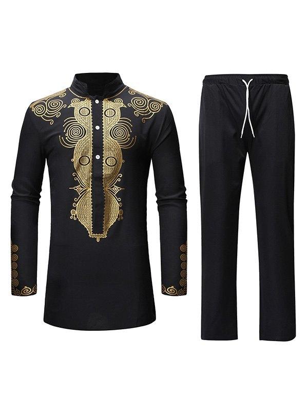 Men's Ethnic Print Long Sleeve Set - Black L