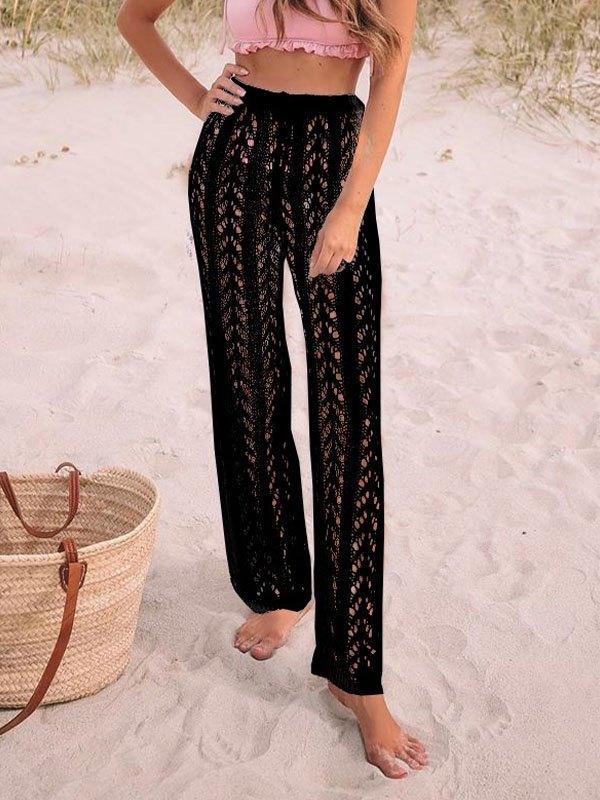 Boho Crochet Hollow Straight Leg Pants - Black S