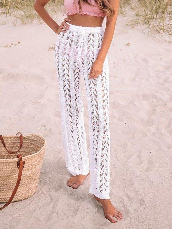 Boho Crochet Hollow Straight Leg Pants - White M