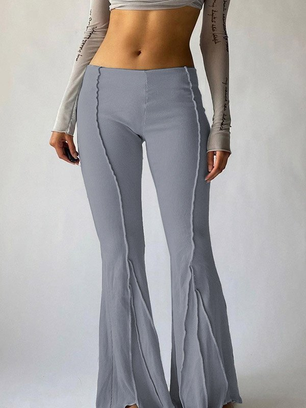 Stitched Detail Flare Leg Pants - Gray L