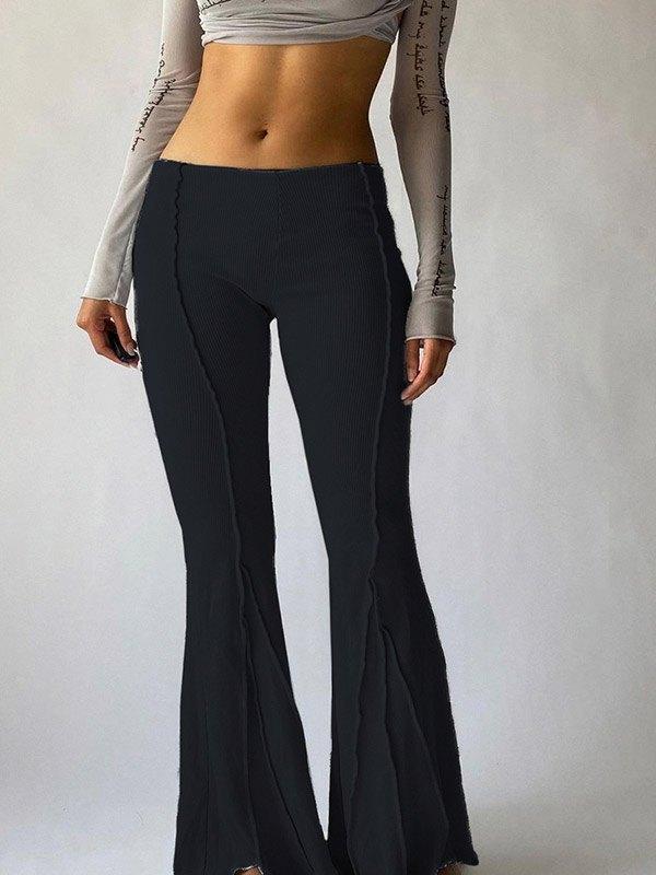 Stitched Detail Flare Leg Pants - Black M
