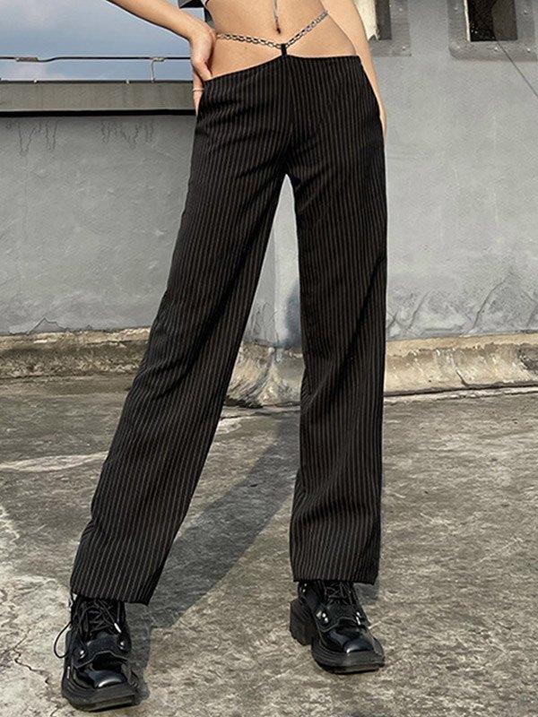 Pinstriped High Rise Straight Leg Pants - Black M