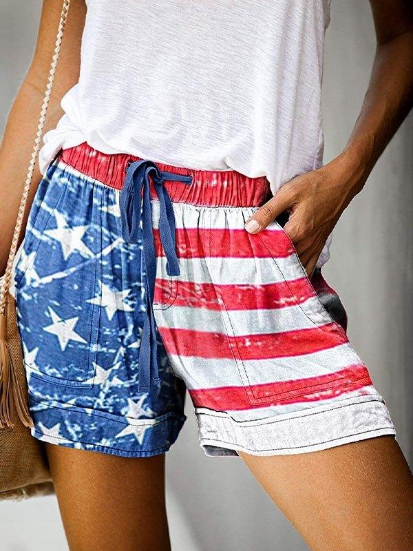 High Rise Flag Print Shorts - Blue M