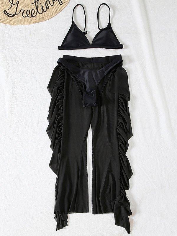 Costume da bagno a tre pezzi in rete con volant - Nero M