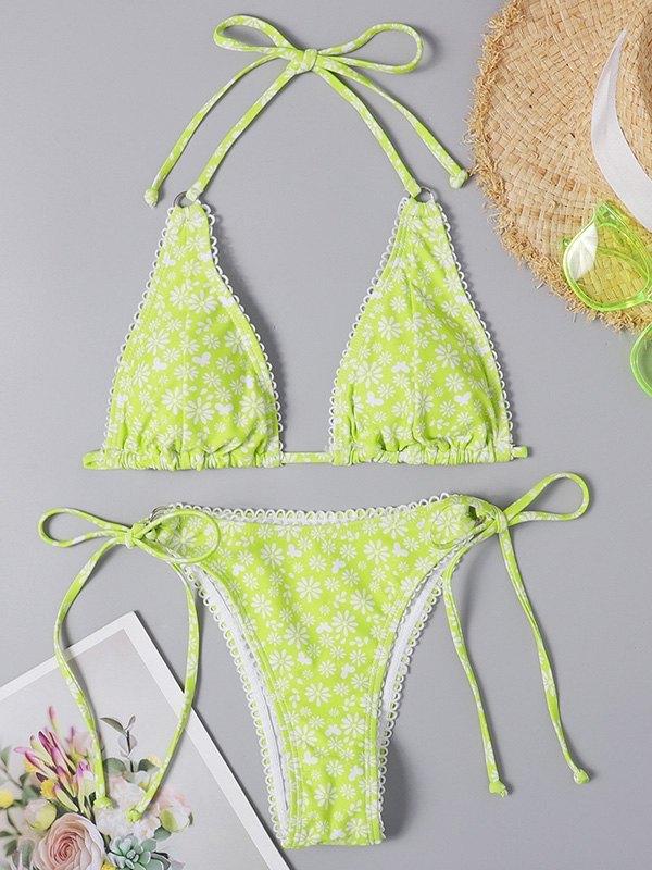 Bikini con stampa margherita - Neon verde M
