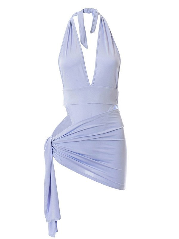 Solid Color Halter One Piece Swimsuit - Lilac M