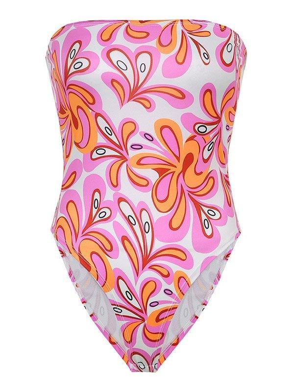 Strapless Floral Print Bodysuit -