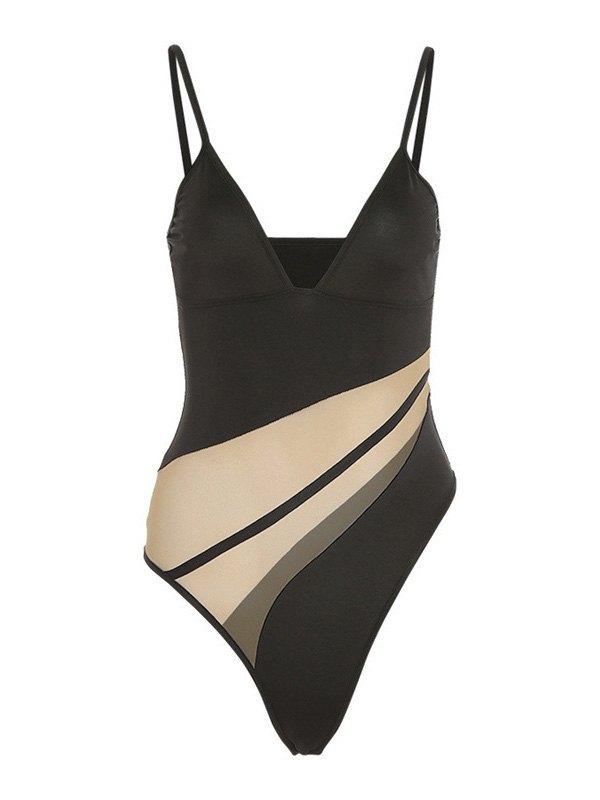 Sheer Mesh Paneled V Neck Bodysuit - Black L