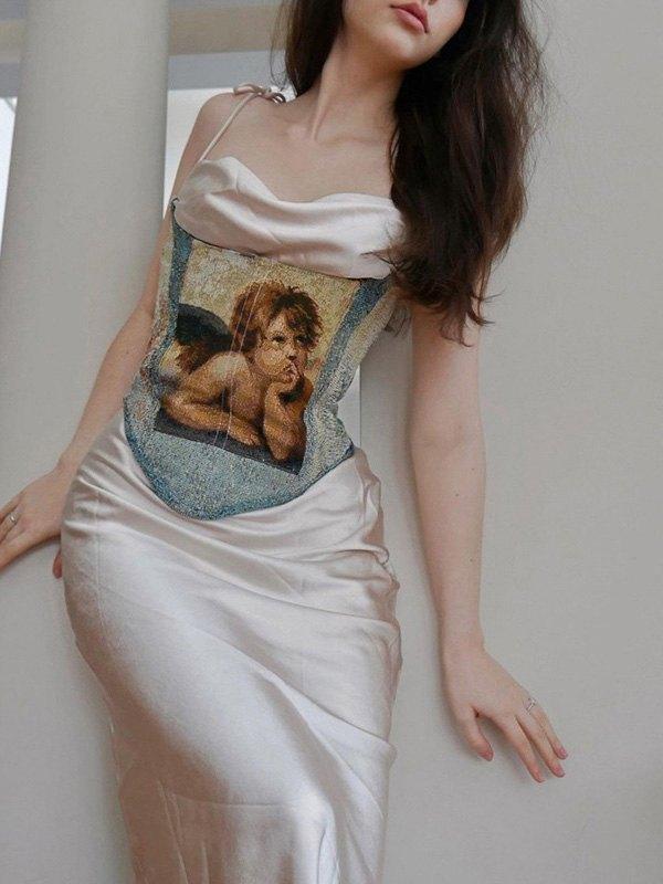 Top corsetto senza spalline con stampa cherubino -