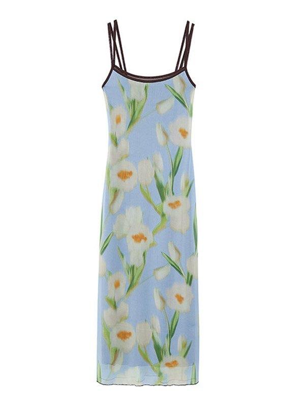 Mesh Smudged Floral Sling Midi Dress -
