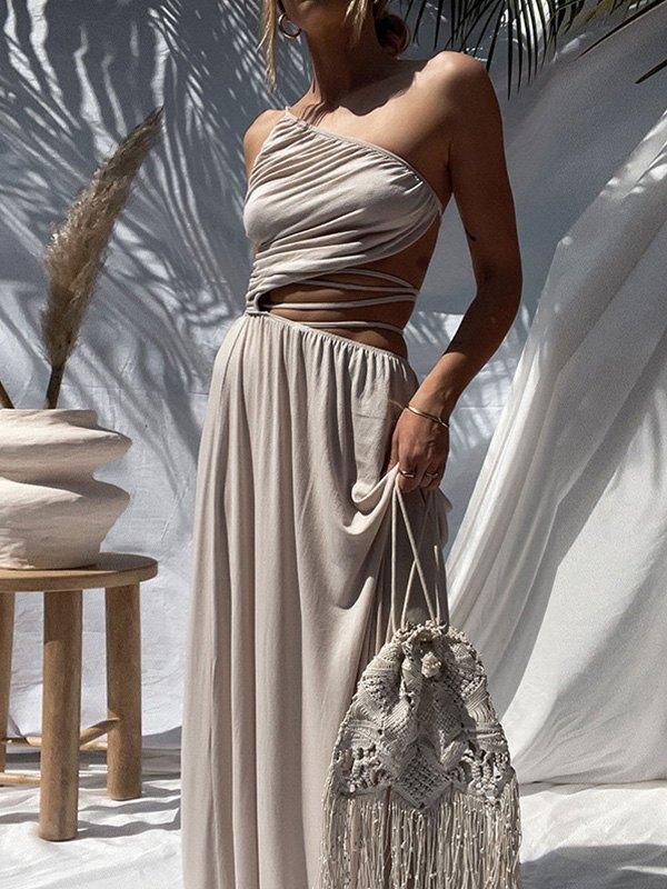 One Shoulder Cutout Maxi Dress - Camel L