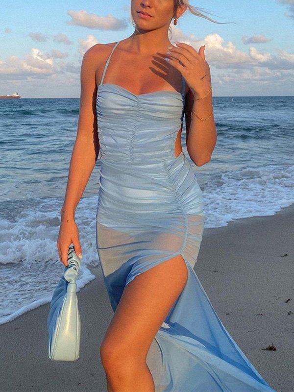 Cross Back Mesh Slit Maxi Dress - Blue S