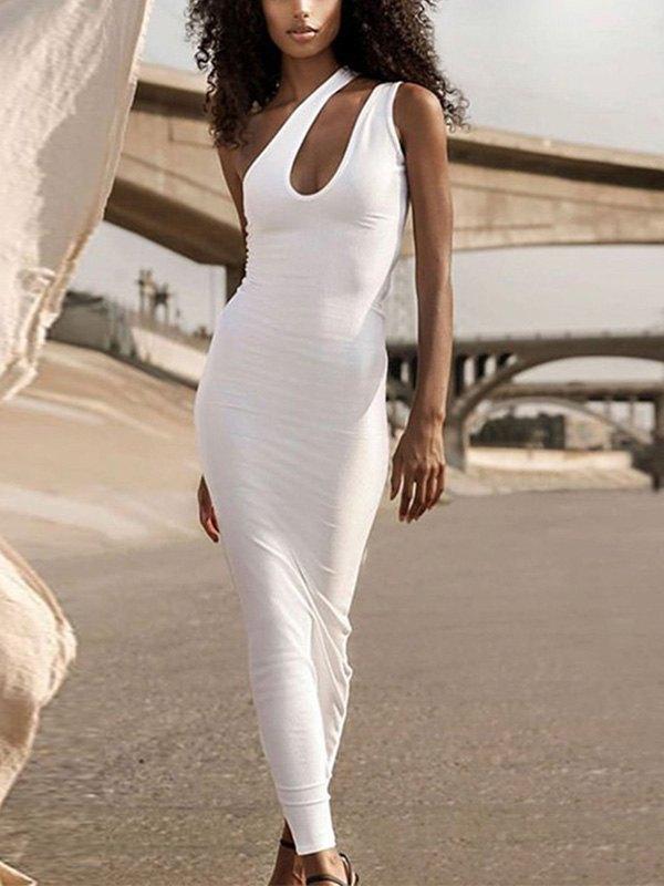 One Shoulder Rib Bodycon Maxi Dress - White L