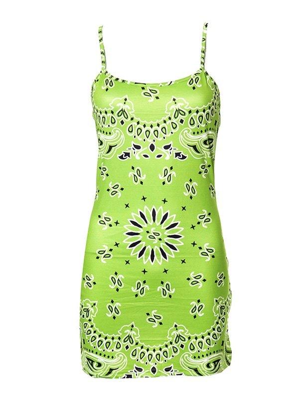 Paisley Print Bodycon Mini Dress - Green L
