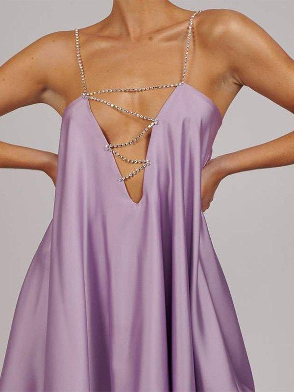 Rhinestone Detail Satin Mini Dress - Purple M