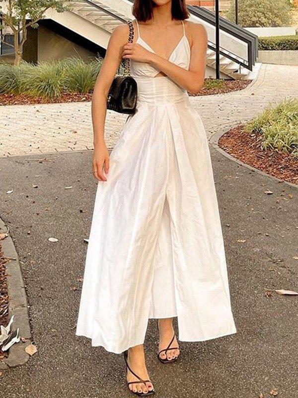 Cutout Slit Swing Maxi Dress - White S