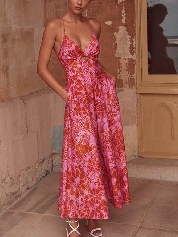 Cutout Slit Swing Maxi Dress - Red S